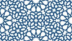 Modelo islámico azul Modelo geométrico árabe inconsútil, ornamento del este, ornamento indio, adorno persa, 3D endless stock de ilustración