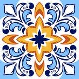 Modelo italiano de la baldosa cerámica Ornamento popular étnico stock de ilustración