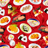 Modelo japonés inconsútil del alimento Fotografía de archivo