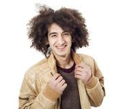 Modelo joven en la chaqueta de cuero Foto de archivo libre de regalías