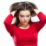 Modelo joven femenino Estudio aislado, fondo blanco Fotos de archivo libres de regalías