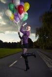 Belleza en parque con los globos Imagenes de archivo