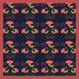 Modelo lindo apacible de la bufanda de flores en color coralino de moda en el fondo azul marino libre illustration