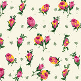 Modelo lindo con las flores rosadas y amarillas Imagen de archivo