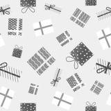 Modelo lindo de los presentes inconsútiles gráficos del regalo con textura del grunge La Navidad, días de fiesta, fondo del invie ilustración del vector
