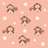Modelo lindo del mono de la historieta continuo , Ilustración del vector Foto de archivo libre de regalías