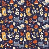 Modelo lindo inconsútil del otoño hecho con el gato, pájaro, flor, planta, hoja, baya, corazón, amigo, floral, naturaleza, bellot Imágenes de archivo libres de regalías
