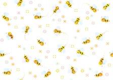 Modelo lindo inconsútil del vector de abejas ilustración del vector