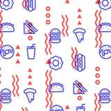Modelo linear del esquema de los alimentos de preparación rápida Textura de la impresión Diseño de la tela Fotografía de archivo