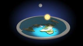 Modelo liso da terra 3D Dia e noite animation Conceito Geocentric do universo ilustração do vetor