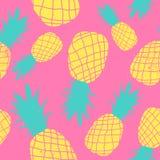 Modelo loco de los colores de la fruta inconsútil de la piña del vector Papel pintado lindo colorido muy brillante del fondo de l ilustración del vector