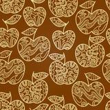 Modelo marrón abstracto inconsútil con las manzanas amarillas Imágenes de archivo libres de regalías