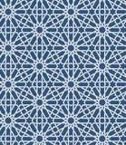 Modelo marroquí islámico inconsútil Ornamento geométrico árabe Textura de los musulmanes Vintage que repite el fondo Azul del vec Fotografía de archivo