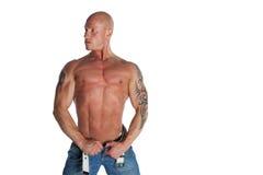 Modelo masculino apto com tatuagens Imagem de Stock Royalty Free