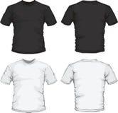 Modelo masculino blanco negro del diseño de la camisa Imagenes de archivo