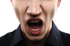 Modelo masculino de la moda con la boca abierta Fotografía de archivo