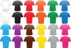 Modelo masculino de las camisas en muchos colores stock de ilustración