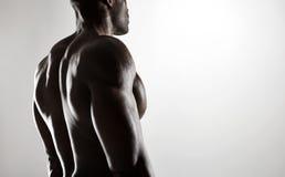 Modelo masculino descamisado con la parte posterior muscular imágenes de archivo libres de regalías