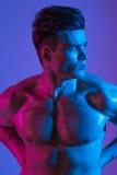 Modelo masculino do halterofilista atlético bonito que levanta no estúdio Corpo 'sexy' saudável muscular Expressão na câmera mist fotos de stock royalty free