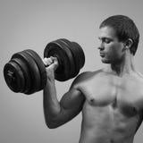 Modelo masculino muscular hermoso con pesa de gimnasia Fotografía de archivo libre de regalías