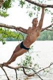 Modelo masculino na árvore Fotos de Stock Royalty Free