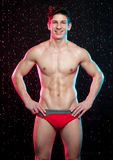 Modelo masculino no estúdio do aqua foto de stock royalty free