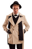 Modelo masculino que juega como detective Fotografía de archivo libre de regalías