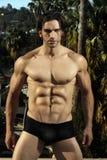 Modelo masculino 'sexy' da aptidão ao ar livre imagem de stock