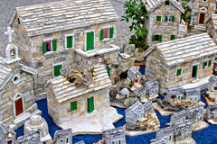 Modelo mediterráneo del pueblo de la piedra del estilo Fotos de archivo