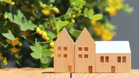 Modelo miniatura de la casa con la flor almacen de metraje de vídeo