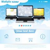 Modelo moderno del Web site para la compañía de la computadora portátil