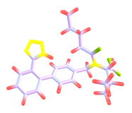 Modelo molecular de Valsartan aislado en blanco Foto de archivo