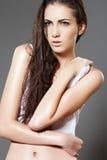 Modelo molhado magro da mulher da forma com cabelo brilhante longo Fotografia de Stock Royalty Free
