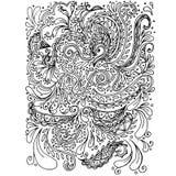 Modelo monocromático dibujado mano floral Imagen de archivo