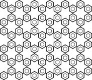 Modelo monocromático inconsútil del hexágono del diseño Fotos de archivo