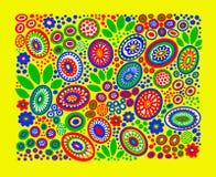 modelo multicolor de flores y de hojas en fondo amarillo libre illustration