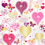 Modelo multicolor inconsútil de la tarjeta del día de San Valentín ilustración del vector