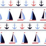 Modelo náutico del vector de las anclas y de los veleros fotografía de archivo