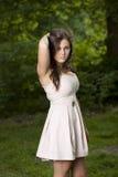 Modelo na floresta Imagens de Stock Royalty Free