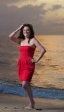 Modelo na praia fotos de stock