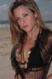 Modelo na praia Imagem de Stock