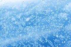 Modelo natural escarchado sobre el vidrio del invierno fotos de archivo