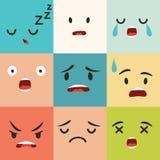 Modelo negativo del vector de los emoticons Iconos del cuadrado de Emoji ilustración del vector