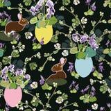 Modelo negro con las flores, el conejito y el huevo de Pascua stock de ilustración