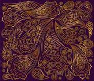 Modelo negro del indio del oro Vector Árabe del ornamento Fotografía de archivo libre de regalías