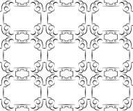 Modelo negro inconsútil del vector en un blanco wallpaper Imágenes de archivo libres de regalías
