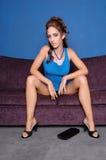 Modelo no azul Fotografia de Stock Royalty Free