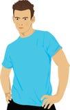 Modelo no azul Imagens de Stock Royalty Free