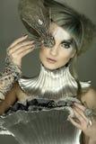 Modelo no vestido e no cabelo da expressão Imagens de Stock Royalty Free