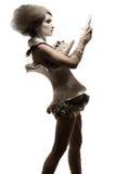 Modelo no vestido e no cabelo da expressão fotografia de stock